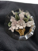 1950s Lucite Brooch - Vase of Flowers Design - Unusual Shape